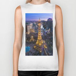 Aerial view of the Eiffel tower in Las Vegas Biker Tank