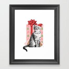 Merry Christmas Kitten Framed Art Print