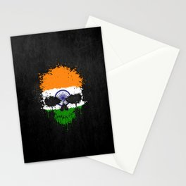 Flag of India on a Chaotic Splatter Skull Stationery Cards