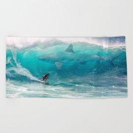 Surfing with a Giant Shark Beach Towel