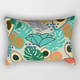 Monstera, fruits and flowers Rectangular Pillow
