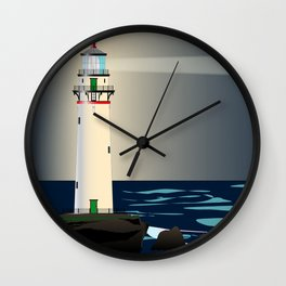 Lighthouse Night Background Wall Clock