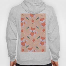 Happy Birthday Orange Fox on Orange Background Pattern Hoody