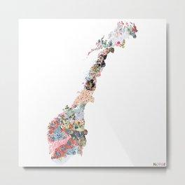 Norge map Metal Print
