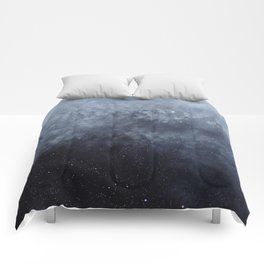 Blue veiled moon Comforters