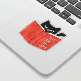 Cat reading book Sticker