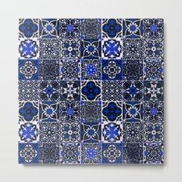 N26 - Blue Wonderful Traditional Moroccan Vintage Tiles Artwork Metal Print