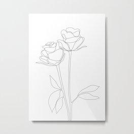 Two Minimal Roses Metal Print