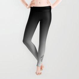 Love Symbol Mandala Black on White Leggings