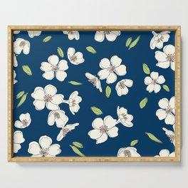 White cherry blossoms (dense) Serving Tray
