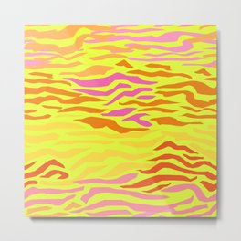 Abstract Waves in Neon Yellow Metal Print