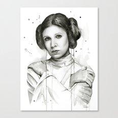 Princess Leia Watercolor Carrie Fisher Portrait Canvas Print