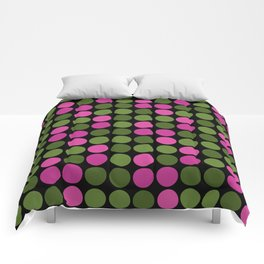 Pattern in pink and olive polka dots on black. Comforters