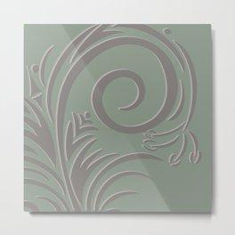 Floral Fantasy Sage Green  Metal Print