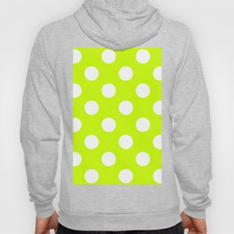 Large Polka Dots - White on Fluorescent Yellow Hoody