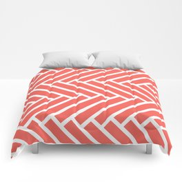 Bright coral and white herringbone pattern Comforters