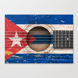Old Vintage Acoustic Guitar with Cuban Flag Canvas Print