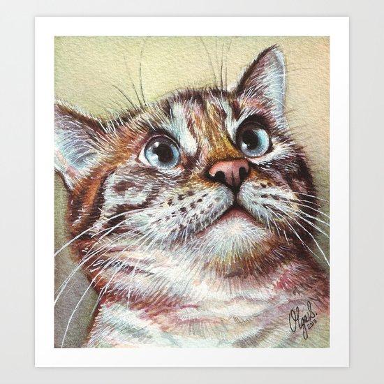 Cat Watercolor Art Print
