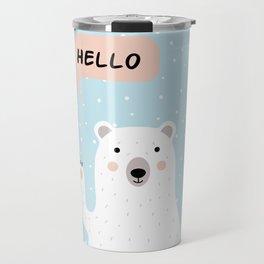 Cute Polar Bear in the Snow says Hello Travel Mug