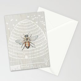 In the Bee Hive White on Wood Background Stationery Cards