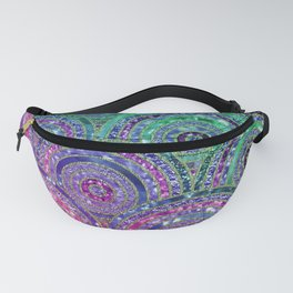 Pink Purple Blue and Green Sparkling Glitter Circles and Dots Fanny Pack
