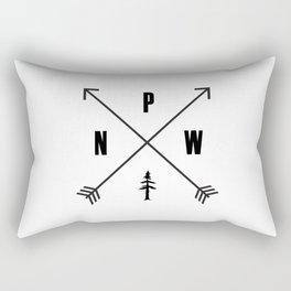 PNW Pacific Northwest Compass - Black on White Minimal Rectangular Pillow
