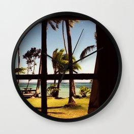 Tropical Fiji Beach Scene Wall Clock