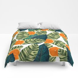 Oranges And Green Leaves Pop Comforters