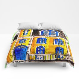 Ink and watercolour Victorian house Comforters