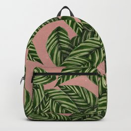 Forest green coral pink glitter tropical foliage Backpack