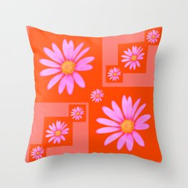 Cheerful Pink Cape Daisy patchwork Throw Pillow