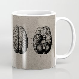 Row o' Brains - Engraving - Vintage - Old Black, White & Brown Coffee Mug