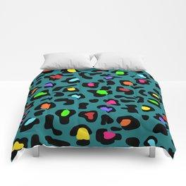 Rainbow Leopard Print Dark Teal Comforters