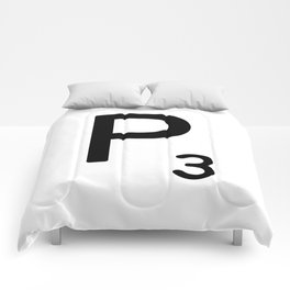 Letter P - Custom Scrabble Letter Tile Art - Scrabble P Initial Comforters