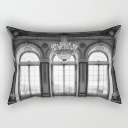 Giant French castle windows antique Paris ballroom hall and chandelier baroque wall mural background Rectangular Pillow