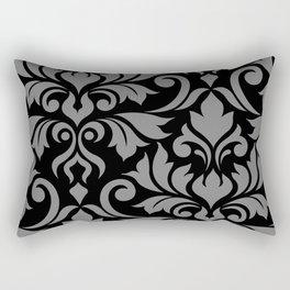 Flourish Damask Art I Gray on Black Rectangular Pillow