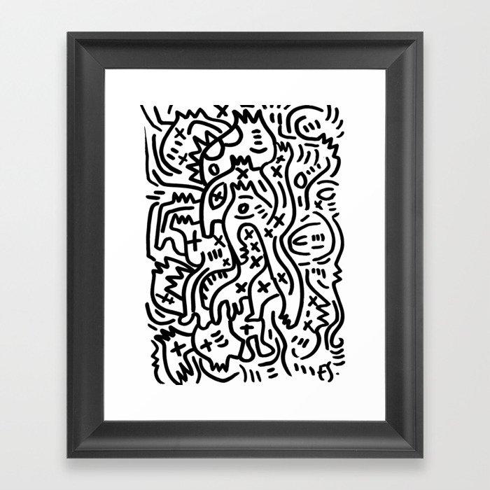 Graffiti Street Art Black and White Gerahmter Kunstdruck