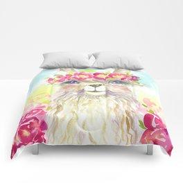 Llama in flower crown Comforters
