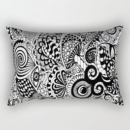 Mushy Madness doodle art Black and White Rectangular Pillow