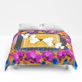 Golden Butterflies  Orchids & Blue  Peacock Eyrsd On Puce Art Comforters