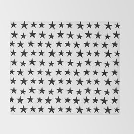Star Pattern Black On White Throw Blanket