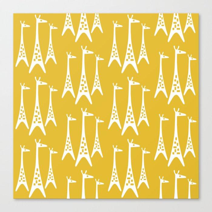 Mid Century Modern Giraffe Pattern 221 Mustard Yellow Leinwanddruck