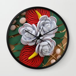 Anthurium Rose Flowers Paper Quilling Wall Clock