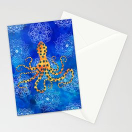 Watercolor Blue Ringed Octopus Mandalas Pattern Stationery Cards