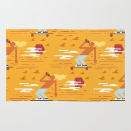Skateboarders Holiday Pattern Rug