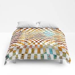 Chessboard Watercolor and gold Comforters