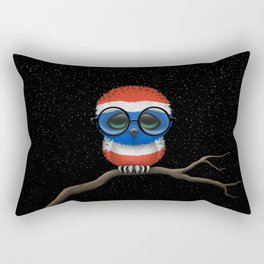 Baby Owl with Glasses and Thai Flag Rectangular Pillow