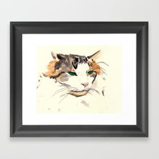 watercolour cat Framed Art Print