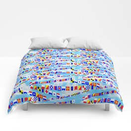 Maritime Signal Flags Pattern with Sailor Sayings Comforters