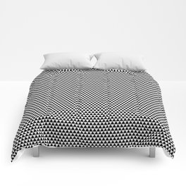 Black and White Repeating Geometric Triangle Pattern Comforters